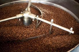 coffee roasting in machine